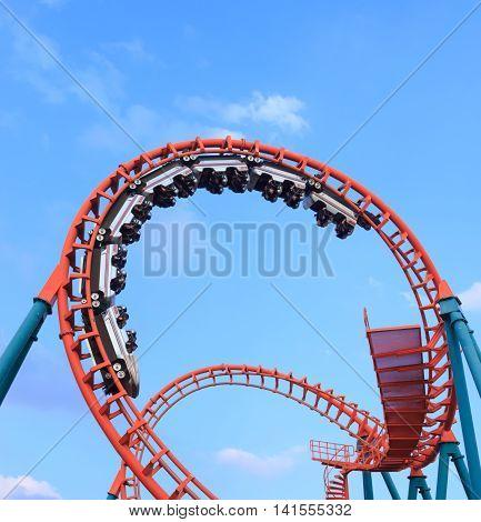 BangkokThailand - August 062016 : People enjoy on rollercoaster at Siam park amusement in Bangkok Thailand.