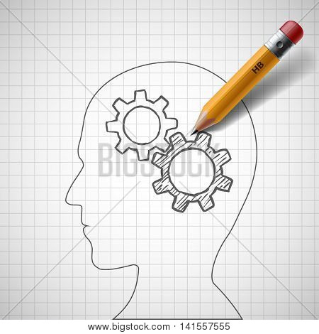 Pencil draws gears in human head. Stock vector illustration.