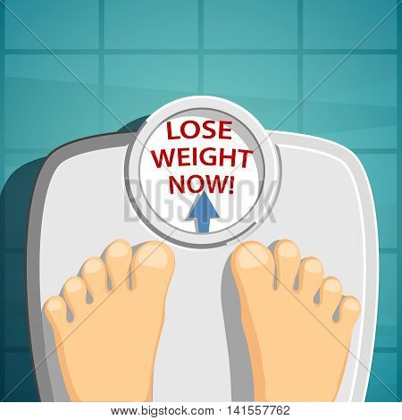 Lose weight. Man standing on the scales. Stock Vector cartoon illustration.