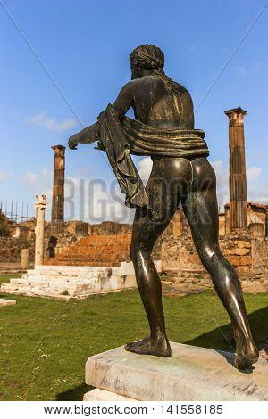 Statue Of Apollo In Pompeii Ruins