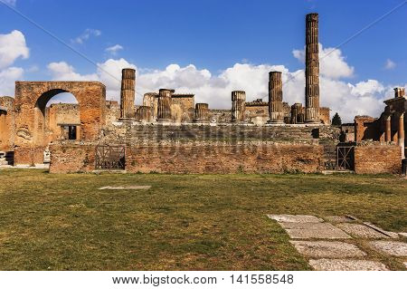 Ruins Of Amphitheater In Ancient Pompeii City