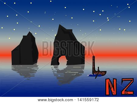 New Zealand night landscape, vector illustration, islands maori etnic canoe. Wharariki Beach postcard. Travel poster