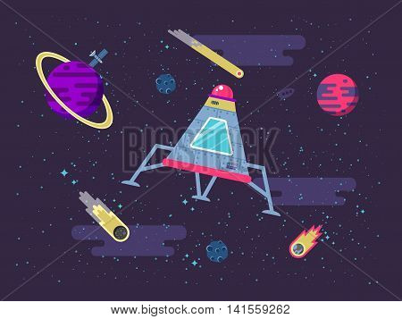 Stock vector illustration of a space capsule flying in space on the background of stars and planets in a flat style