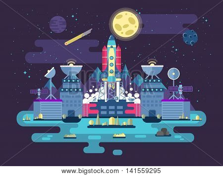 Stock vector illustration the facade of the station building and ancillary facilitieswith soaring rocket into space for the expedition and research on the background of open outer space in flat style.