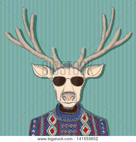 Animal deer in hipster style. Hand drawn image. Stock vector illustration.
