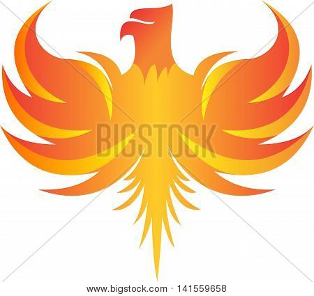 stock logo illustration fire phoenix flying icon