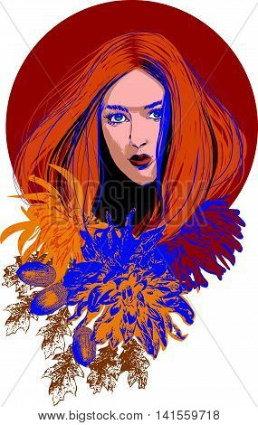 Beautiful girl in an autumn ambience. Abstract design for beauty salon, advertising, fashion, cosmetic shop, flyer.
