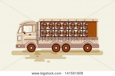 Stock vector illustration transportation of alcoholic beverages by truck, shipping barrels of wine on wagon in flat style