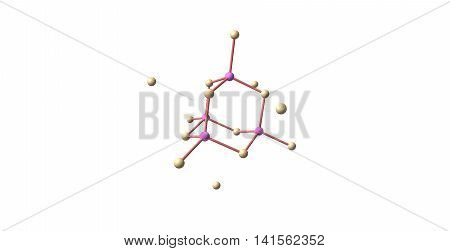 Gallium arsenide - GaAs - is a compound of the elements gallium and arsenic. It is a bandgap semiconductor with a zinc blende crystal structure. 3d illustration poster
