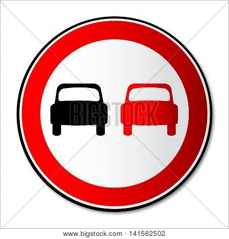A no overtaking round traffic sign over a white background