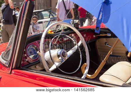 Nurnberg Bavaria / Germany - July 19th 2014: red Auto Union 1000 Sp at Sud - Rallye- Historic event in Nurnberg