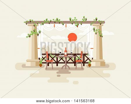 Stock vector illustration of table between the columns with a bottle of wine and glasses, a mountain view, place to rest and drinking wine in flat style