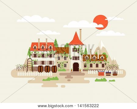 Stock vector illustration of architecture winery facade with vineyards on the background of mountains with barrels of wine in flat style