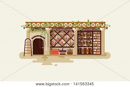 Stock vector illustration Interior of wine cellar for storing and aging whiskey bottles and barrels, storage of alcoholic beverages in flat style