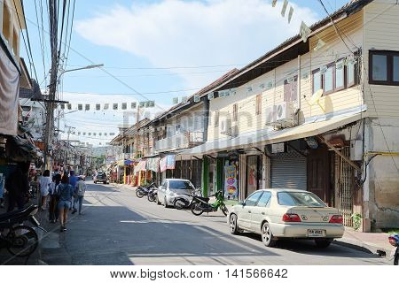KANCHANABURI, THAILAND - JULY 25, 2016 : urban lifestyle at kanchanaburi, Kanchanaburi town is the ancient city of old cultural traditions of the people of different nationalities live together.