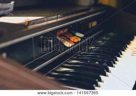 image of Antique reed organ close up