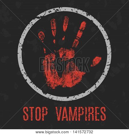 Conceptual vector illustration. Stop vampires red sign.