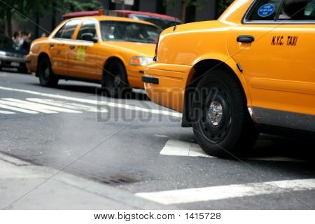 Cab / Taxi With Steam Out Of Manhole (New York)