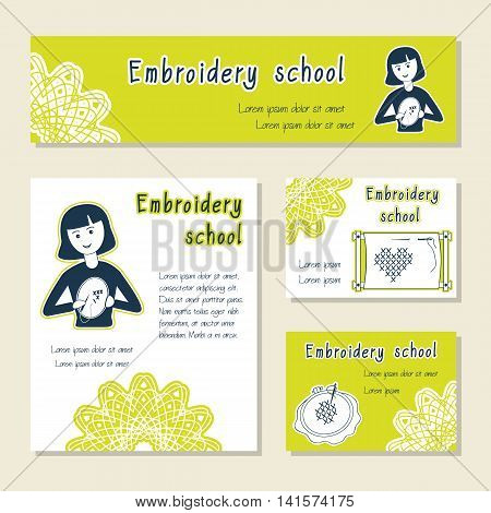 Vector set of cards template for embroidery school handmade shop. Flat icon embroidering girl. Set of template for business card information banner poster magazine presentation logo.