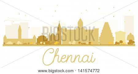 Chennai City skyline golden silhouette. Vector illustration. Simple flat concept for tourism presentation, banner, placard or web site. Business travel concept. Isolated Chennai