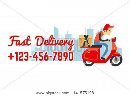 Delivery service vector banner with call number. Deliveryman on motorbike with cardboard box