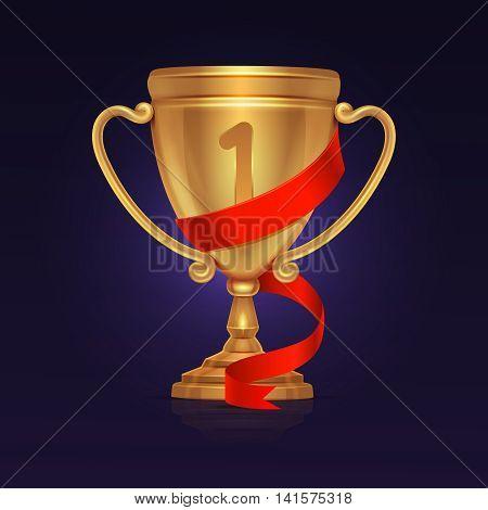Sport winner gold trophy championship cup vector. Illustration of gold goblet or trophy prize for first place