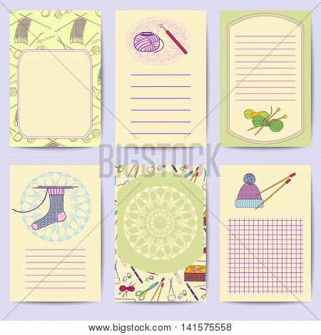 Set printable journal cards. Bright collection with knitting tools. Stock vector illustrations of knitting objects handicraft hand made. It can be used for planning poster scrapbook