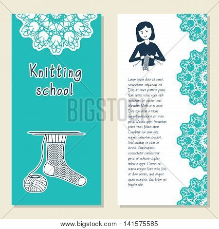 Cards template for knitting school knit accessories shop. Icon knitting girl. Vector illustration with front and back side. Set of template for poster banner magazine presentation logo brochure