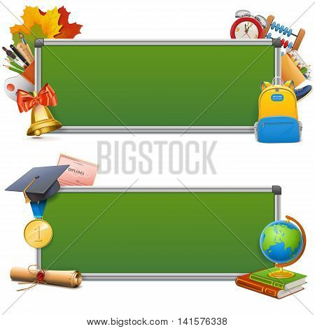 Vector School Blackboards isolated on white background