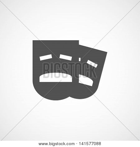 Vector flat drama mask icon. Isolated black drama icon for logo web site design app UI. Flat mask illustration for posters cards book cover flyers banner web game designs.