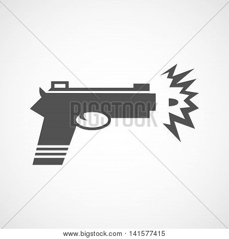 Vector flat gun shot icon. Isolated black gun icon for logo web site design app UI. Flat weapon illustration for posters cards book cover flyers banner web game designs.