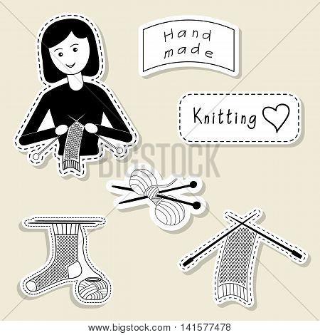 Vector set of design element logo badge label icon decoration and scrapbook object. Knitting yarn handmade theme. Knitting crochet knitt girl yarn knitting needles sock scarf.