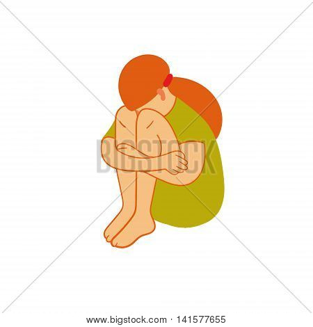 Girl vector colored vector illustration. Original color vector illustration of handmade