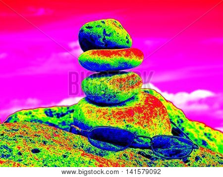 Infra Scan, Thermography Photo. Summer Glasses And Stone Pyramid On Sea Shore