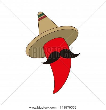 hat accesory pepper mustache mexican culture icon. Isolated and flat illustration. Vector graphic
