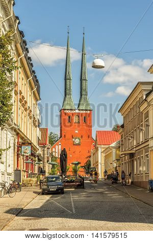 VAXJO SWEDEN - 25 JULY 2016: The lofty copper clad twin spires of Vaxjo cathedral gives the city a very special profile. The cathedral dates back to the late 12th century.