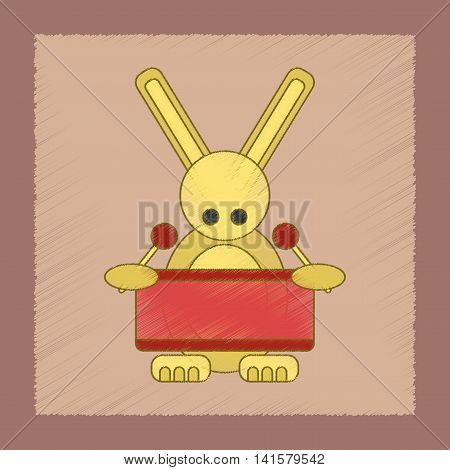 flat shading style icon Kids toy rabbit drummer