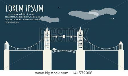 Modern bridge facade banner. Minimalistic banner. Abstract minimal style architecture background. Bridge landscape concept illustration. Retro colors stylization