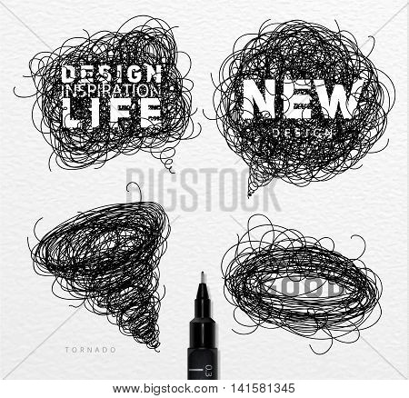 Pen drawing tangle elements chat oval tornado with different inscriptions drawing on paper background