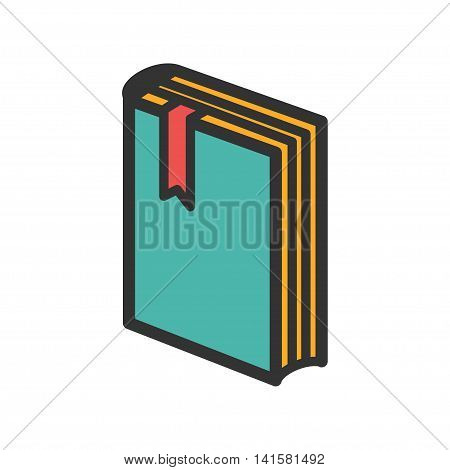 Standing book with bookmark icon. Vector illustration
