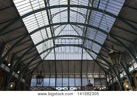LONDON, UNITED KINGDOM - SEPTEMBER 12 2015: Architectural close up of glazed roof of Covent Garden Market in London