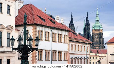 View of Prague in Hradcany district in autumn day.