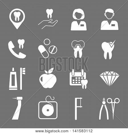 Set of white flat dental icons. Types of dental clinic services equipment for dental care dental treatment and prosthetics. Children's dentistry. Vector illustration