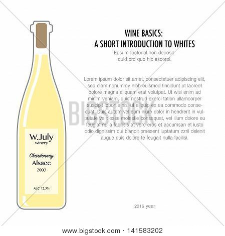 Bottle of white wine in flat style isolated on white background. Typography poster for wine tasting or information poster for wineries or wine shop