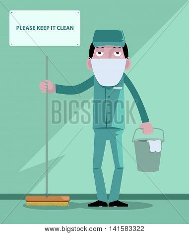 Illustration of a man working as a cleaning service