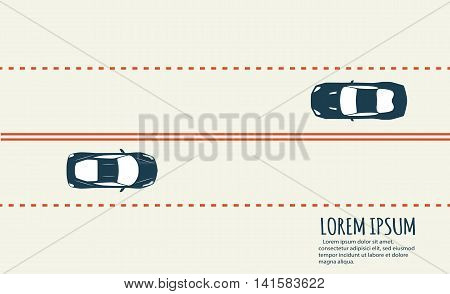 Highway traffic with top view cars. View from above. Overhead view of transport. Aerial view over the road and highway. Minimalistic banner.
