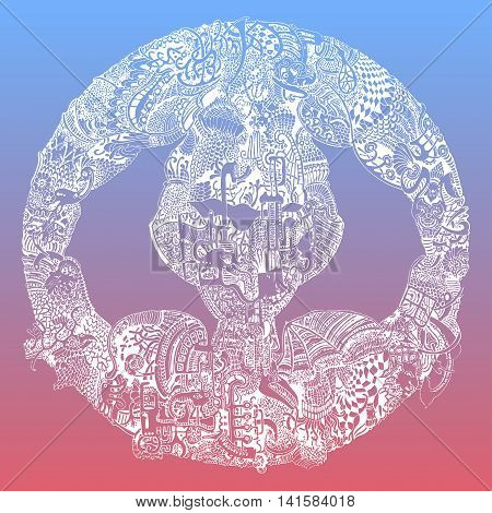 Abstract vector tribal ethnic mandala on 2016 Pantone color gradient mix
