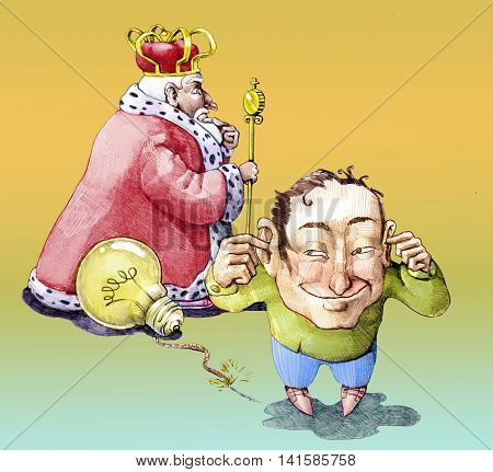 a man uses a light bulb as a bomb to blow up a king