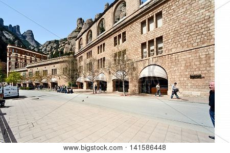 Montserrat Spain - April 6 2016: Santa Maria de Montserrat is a Benedictine abbey located on the mountain of Montserrat nearby from Barcelona