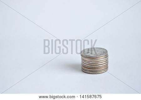 Single stack of U.S. dimes lower right